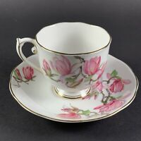 Vintage Roslyn Fine Bone China Magnolia Footed Teacup & Saucer 8523 Floral