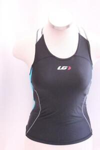 New Louis Garneau Women's Comp Tank Medium Black White Tri Run Bike Sleeveless