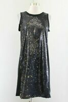 Michael Kors Black Gold Reversible Sequin Cocktail Party Dress Size 8 Sleeveless