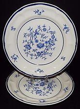 (2) NEWCOR STONEWARE VILLA #680 Dessert PLATES Blue Floral JAPAN 1986 VINTAGE