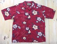 PALM ISLAND - Mens Red Rayon-Cotton Floral Tropical Hawaiian Shirt - LARGE
