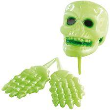 Halloween Dekorations-Grusel-Set 3tlg Totenschädel Hände Helloween leuchten grün