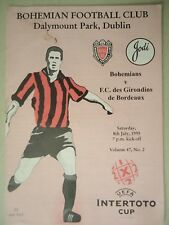 Programm UEFA Intertoto Cup 1995 Bohemians FC - Girondins Bordeaux