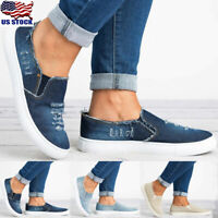 Women's Denim Canvas Loafers Round Toe Casual Flats Shoes Slip On Shoes Size 5-8