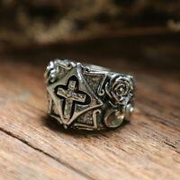 Cross Vintage ring men sterling silver 925 gothic Flower pray jewelry celtic man