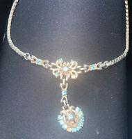 VINTAGE BARCLAY Gold Tone Blue Rhinestone Choker Necklace REPAIR