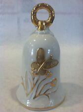 """Vintage Gold White Dinner Hand Bell Porcelain Old Gold Gilt Butterfly Ringer 5"""""""