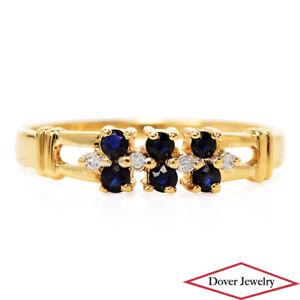 Estate Diamond Sapphire 10K Gold Lovely Cluster Band Ring NR