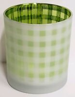 Yankee Candle Green Lime Gingham Plaid Votive Tealight Holder New