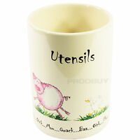 Cream Home Farm Utensil Pot Ceramic Kitchen Tool Utensils Storage Holder Jar