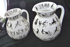 Vintage Pair of Black & White Porcelain Pitchers Dec w Whimsical Figures England