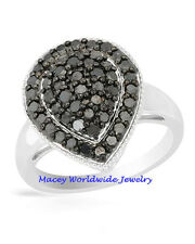 Lavish Queen Black Diamond Teardrop Amazing Gorgeous Ring 1.00 Carat