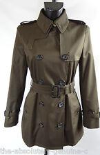 AQUASCUTUM JENNIFER short trench coat ONYX GREEN/BROWN sz 8