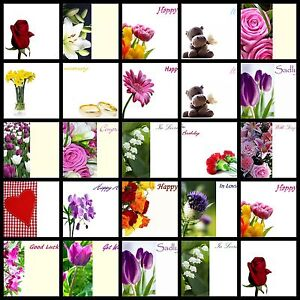 50 Florist Flower Message Cards Birthday Anniversary Mothers Funeral Blank UK