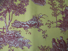 """Cotton Fabric Remnant Yellow Red White Toile Print COUNTRY SCENES 54"""" x 1 yd NEW"""