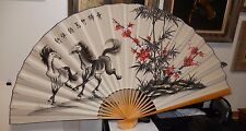 HUGE CHINESE TWO HORSES & CHERRY BLOSSOM TREE WATERCOLOR FAN PAINTING SIGNED