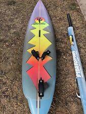 "Cardon Fiberglass Windsurfer w/ Mast & Fins 8'8"" with 80's Airbrush Excellent"
