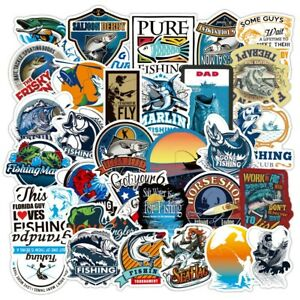50 pcs Fishing Stickers Pack  Of Fishing Bumper Sticker pure