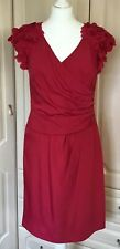Coast dress size 12 Red Detailed Sleeves Lined Shift Party