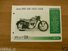 MVE46- JAWA OHC500 1952-1958 MINI POSTER AND INFO MOTORCYCLE,MOTORRAD