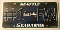 Seattle Seahawks #1 Fan Metal Embossed License Plate NFL Officially Licensed