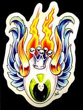 Hot Rod Sticker Flying Eyeball Drag Flames Racing Tattoo Motorcycle