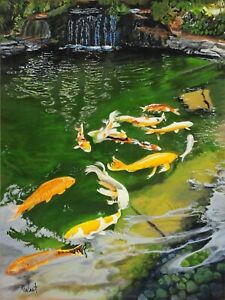 Robert West The Pond Koi Fish Original Contemporary Oil Painting 24x18