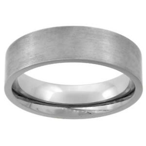 Titanium 6MM Flat Wedding Band Ring Matte Finish Comfort Fit Size 7-14
