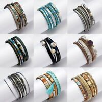 Fashion Women Multilayer Leather Magnetic  Wrap Cuff Charm Bracelet Jewelry Gift