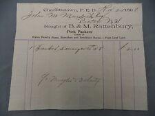 Letterhead Advertising B&M Rattenbury Breakfast Bacon Ham Pork Curers 1898 PEI