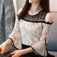 Korean Fashion Blouse Flare Sleeve Top Lace Shirts Off Shoulder Sexy Women Top