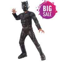 Deluxe Muscle Black Panther Child Costume For Boys Kids Party