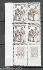 1957/BLOC NUMEROTE 4x TIMBRES NEUFS**CROIX ROUGE-MENDIANTE/BORGNESSE**STAMP.1141