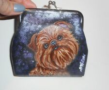 Brussels Griffon dog Hand Painted Blue Leather Coin Change Purse Vegan Wallet