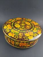 Vintage Daher Floral Metal Tin Canister Yellow Brown Made in England