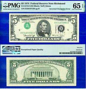 Error Note - 1974 $5 FRN (( Crazy Rare - Inverted Overprint )) PMG 65EPQ # 5639-