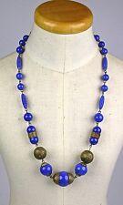 Art Deco Lapis Peking Glass Necklace Brass Accents Rich Color Striking RARE