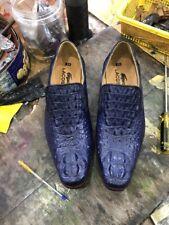 Men's Shoes Genuine Crocodile Alligator Skin Leather Handmade Navy Blue
