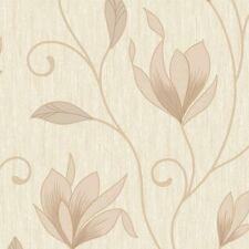 Vymura Synergy Glitter Floral Wallpaper Soft Gold, Cream, Beige (M0868)