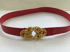 Vintage Red Women's Belt With Chain-Link Gold Belt Closure 32 Inches