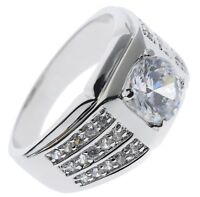 Details about  /Rock Solid 6 carat cz Mens ring Rhodium Overlay size 12 T6