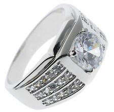 Rock Solid 6 carat cz Mens ring 18k white gold Overlay size 9