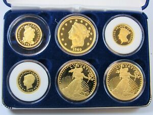 Rare 24kt Gold Clad 60mg Set of 6 Coin Tribute Proof Collection with Box & COA