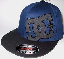 MENS DC FLEXFIT FITTED HAT BLUE/BLACK SIZE S/M