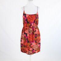Fuchsia pink orange ikat 100% silk J. CREW spaghetti strap elastic waist dress 1