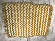 """Vintage Afgan Crocheted Blanket Throw Zig Zag 60""""X48"""" Cream, Mustard, Brown"""