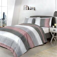 Fusion Betley Stripe Duvet Cover Bedding Set Blue,Spice,Grey,Ochre,B&W Or Blush