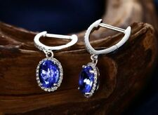 18ct White Gold Stunning AAAA Grade Violet Tanzanite & Diamond Earrings VVS
