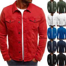 New Mens Denim Jacket Loose Fit Button Cotton Casual Jeans Jackets Coat Shirt UK