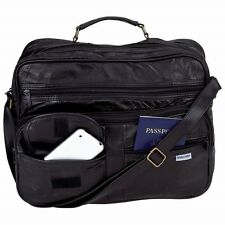 Black Leather Briefcase Attache CarryOn Shoulder Messenger Bag Mens Tote Luggage